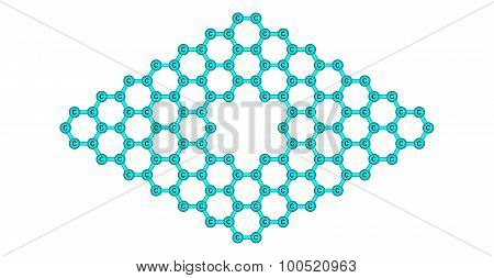 Graphene molecular structure with a pore isolated on white