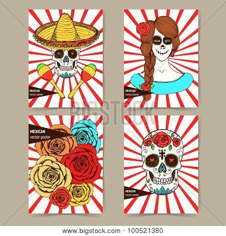 Sketch mexican dia de los muertos set of posters in vintage style. Skull painted girl roses skull in hat with maracas. poster