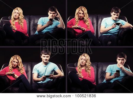 Teenagers addicted to gadgets having a quarrel. Alienation and apathy concept.