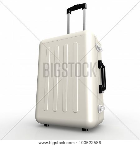 White Luggage Stands On The Floor