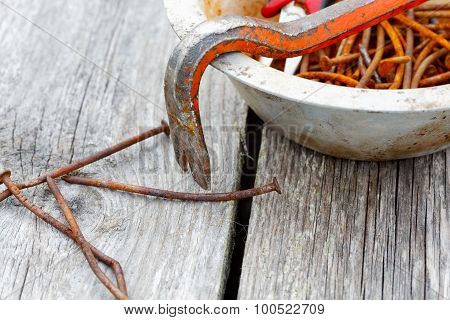 Rusty Nails And Nail Puller Close-up