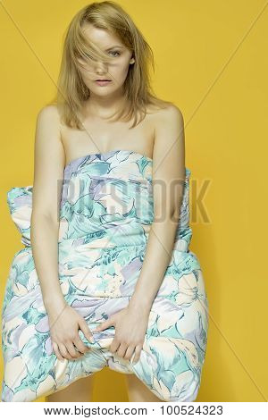 Cute Woman With Pillow