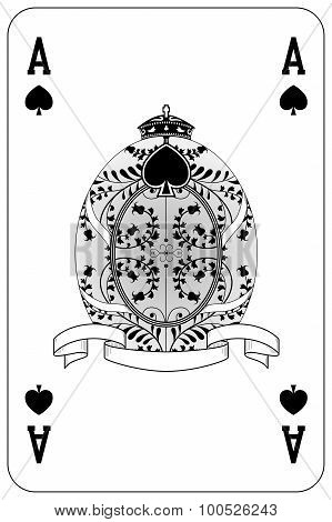 Poker playing card Ace spade isolated on white background poster
