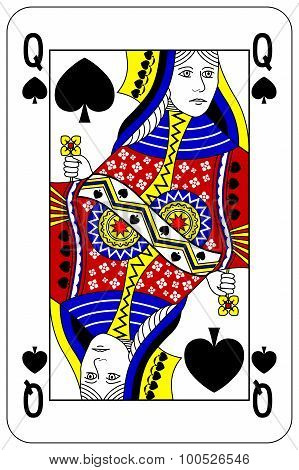 Poker Playing Card Queen Spade