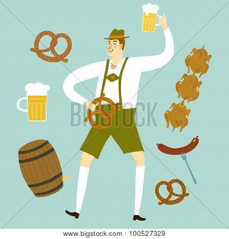 Cartoon Bavarian Man With Beer And Food