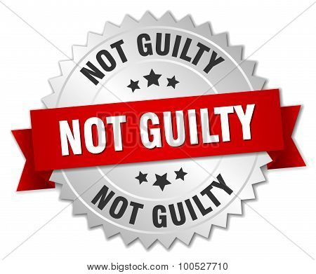 Not Guilty 3D Silver Badge With Red Ribbon