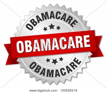 Obamacare 3D Silver Badge With Red Ribbon
