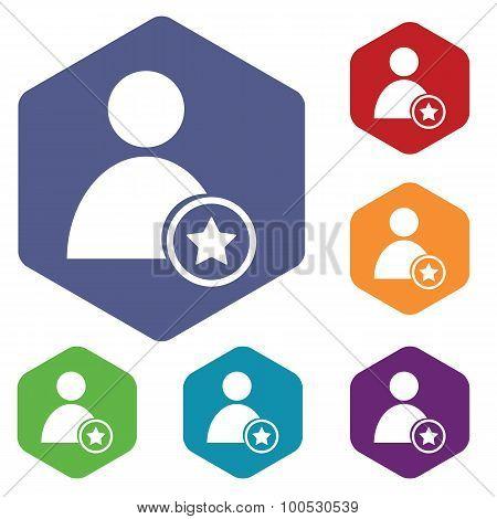Favorite user icon, hexagon set