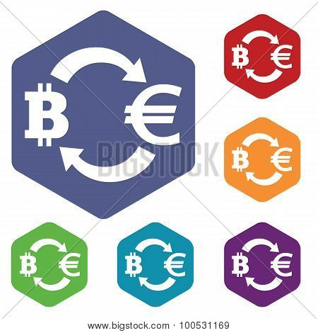 Bitcoin-euro exchange icons set, in hexagon, on colored circles, isolated on white poster