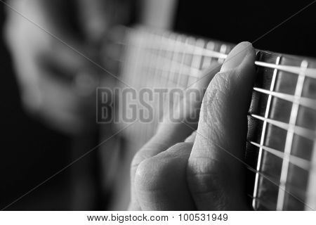 Closeup detail of guitar strings for playing music