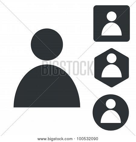 User icon set, monochrome