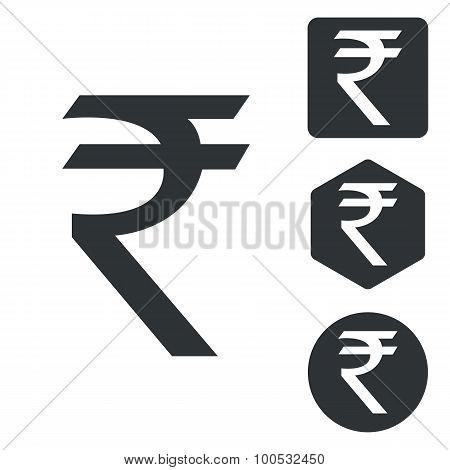 Indian rupee icon set, monochrome