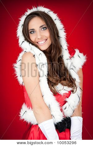 Sexy Brunette Woman In Santa Costume