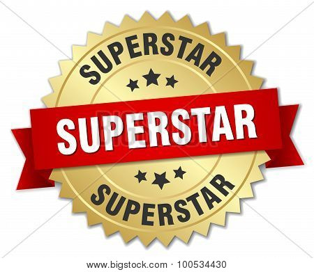 Superstar 3D Gold Badge With Red Ribbon