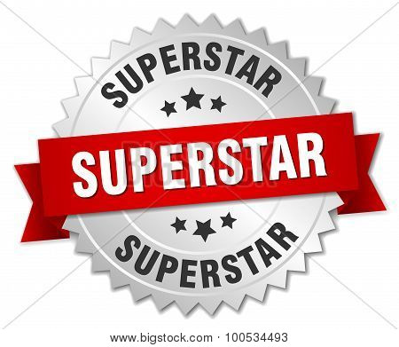 Superstar 3D Silver Badge With Red Ribbon