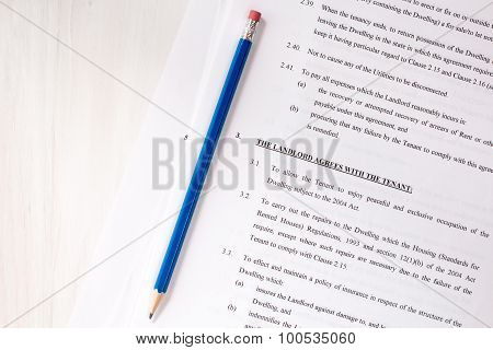 Lease Agreement Document With Pencil