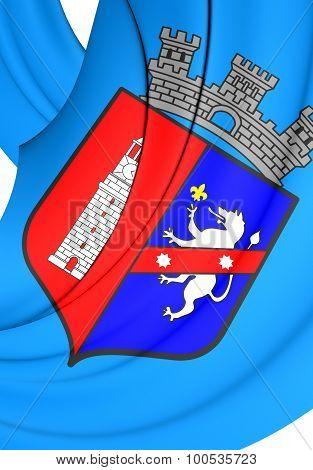 3D Flag of Tirana Albania. Close Up. poster