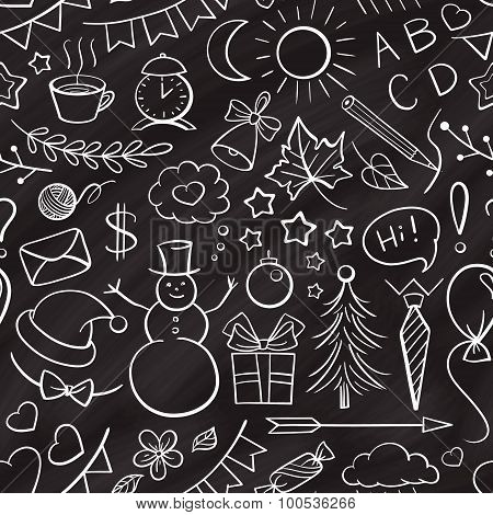 Hand-drown chalk icons seamless pattern
