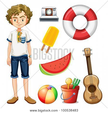 Hipster man and other objects illustration