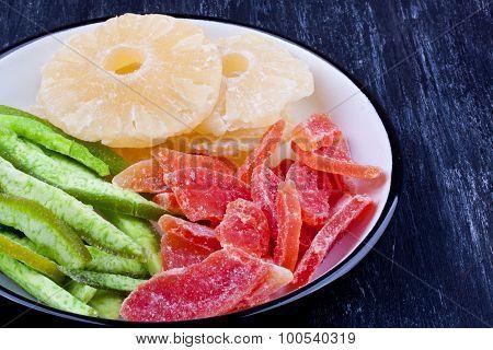 dried pineapple, papaya and pummelo