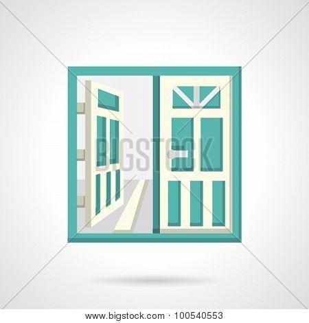 Open glass doors flat vector icon.