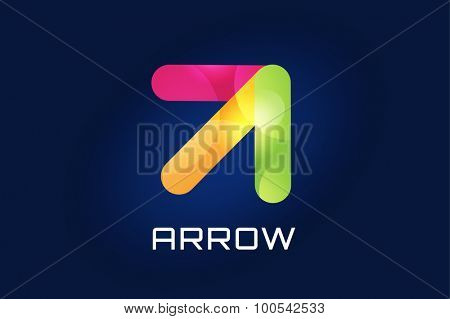 Vector arrow icon. Arrow abstract logo template. Up arrow, cursor arrow icon, arrowheads. Arrow marker and dynamic arrow symbol. Arrow isolated. Arrow vector logo. Arrow company logo