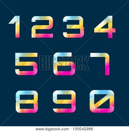 Numbers 1-9 letters vector. Numbers logo icons set. Numbers symbols silhouette. Numbers isolated icons. Line style letter,  modern numbers. Count numbers set