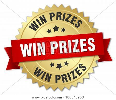 win prizes 3d gold badge with red ribbon poster