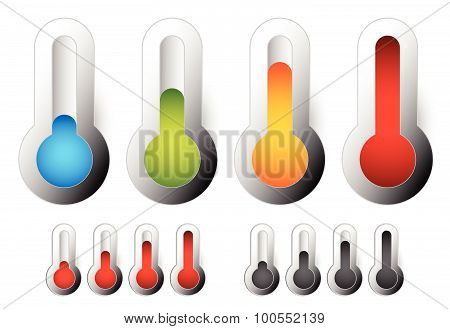 Thermometer Set. Vector Illustration. Cold, Hot Temperatures.