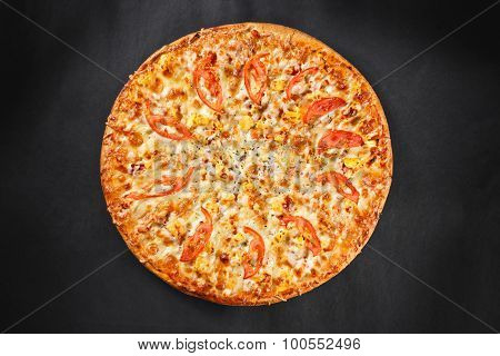 Hot Tasty Delicious Rustic Homemade American Pizza With Pineapple Chicken Tomato With Thick Crust On