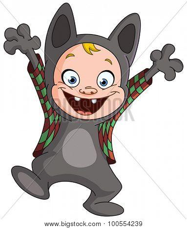 Kid in a werewolf costume celebrating Halloween