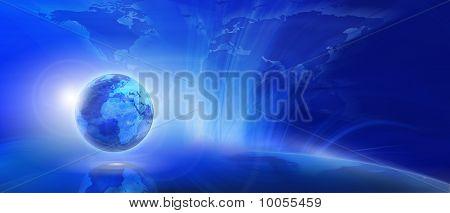 Blauer Hintergrund Internet (global und Kommunikationskonzept)