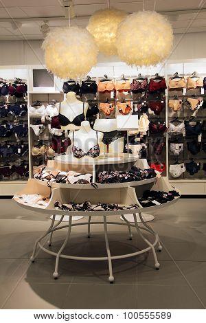 Lingerie display in underwear store department