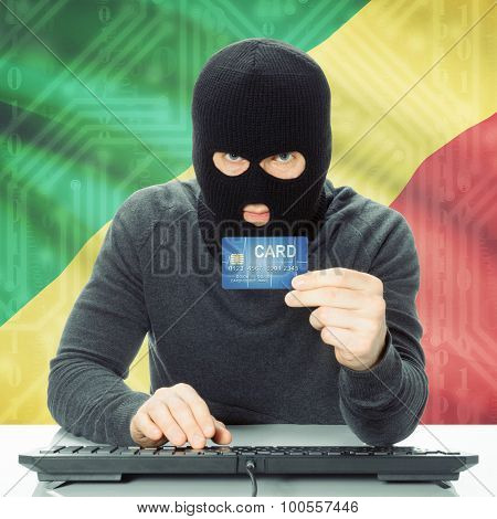 Cybercrime concept with flag on background - Congo-Brazzaville poster