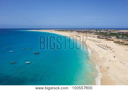Aerial View Of Santa Maria Beach In Sal Island Cape Verde - Cabo Verde