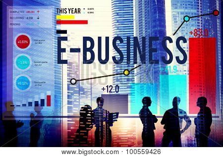E-Business Global Communication E-Commerce Web Concept poster