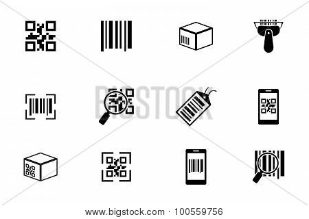 QR code and bar icons set
