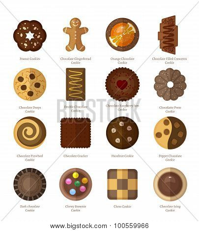 Chocolate cookie icons