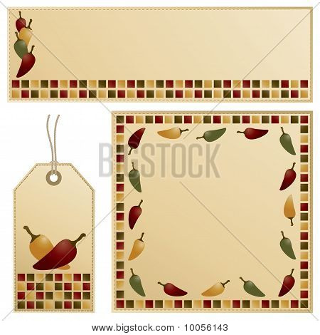 chili pepper banner card and tag stationery set poster