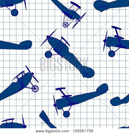 Seamless pattern from ink retro of planes