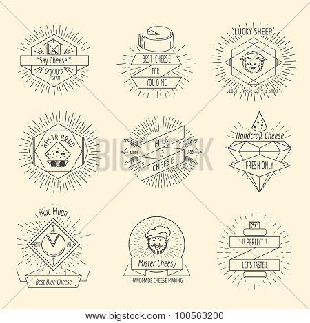 Handmade cheese logo or hipster craft cheesemaking emblem vintage vector set