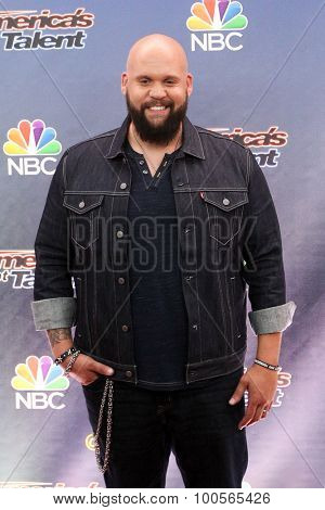 NEW YORK-AUG 11: Singer Benton Blount attends the 'America's Got Talent' season 10 taping at Radio City Music Hall on August 11, 2015 in New York City.