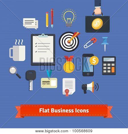 Flat style business icons set