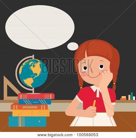 Schoolgirl Sits At A School Desk