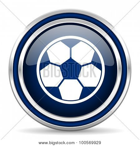 soccer blue glossy web icon modern computer design with double metallic silver border on white background with shadow for web and mobile app round internet button for business usage