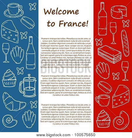 Vector Europe France travel concept with cartoon hand drawn objects on french cuisine theme: cheese,