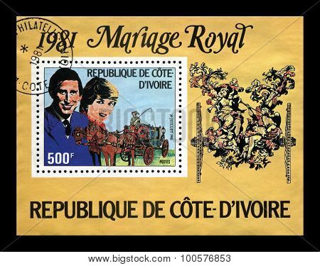Cote-divoire - Circa 1981: Cancelled Stamp Printed In Cote-divoire (ivory Coast) Shows Marriage Of L
