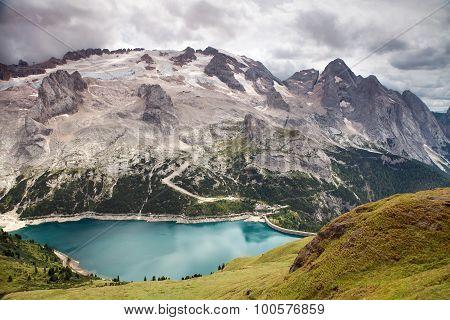 Mount Mmarmolada With Lago Di Fedaia, Italian Dolomites