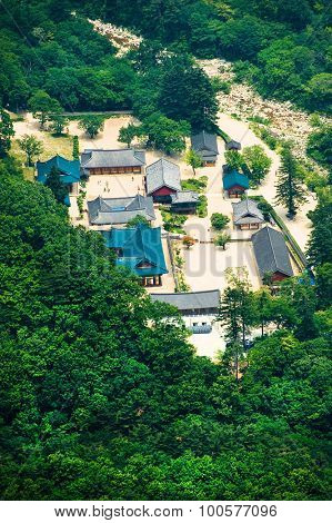 bird's-eye aerial view of the Buddhist Sinheungsa Temple in Seoraksan National Park, South korea
