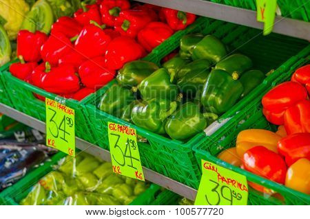 OSLO, NORWAY - 8 JULY, 2015: Typical vegetable market in Torggata where many immigrants run successf